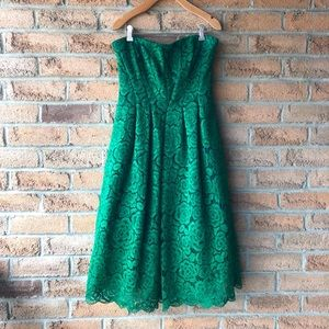 **SALE**VERA WANG | Green strapless tea lace dress